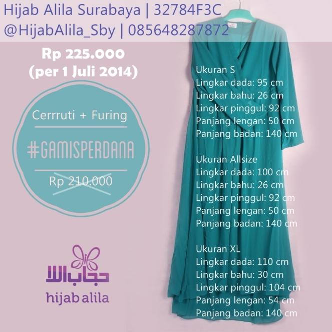 ukuran gamis perdana - juli 2014
